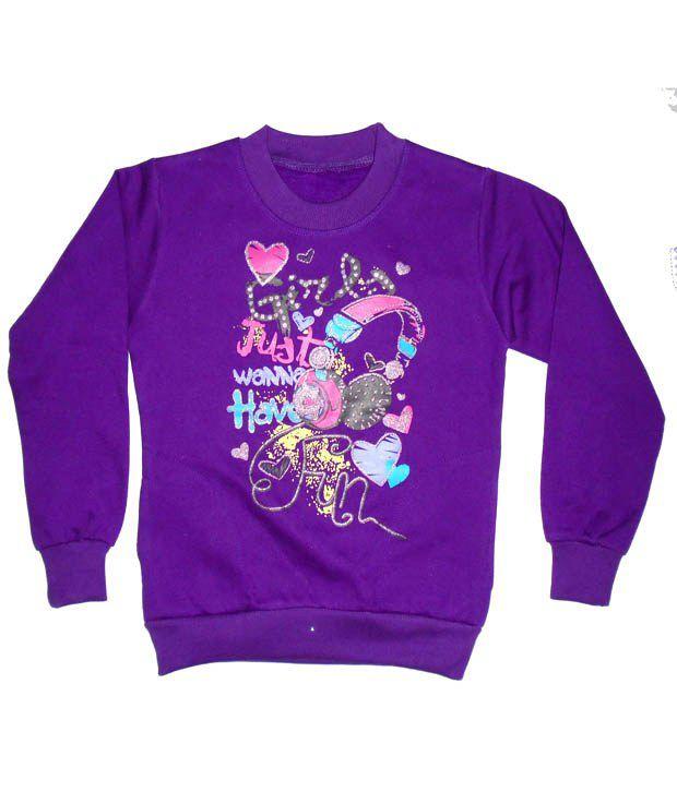 Sweet Angel Full Sleeves Purple Color Printed Sweatshirts For Kids