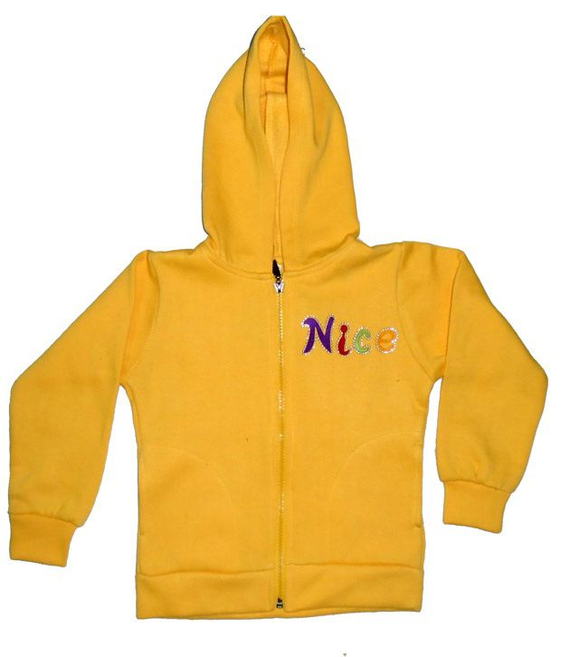 Sweet Angel Full Sleeves Yellow Color Embroidered Hooded Fleeze Jacket For Kids