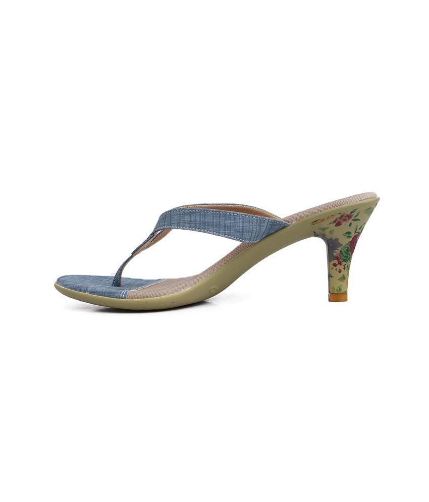 Balujas blue denim finish floral heels