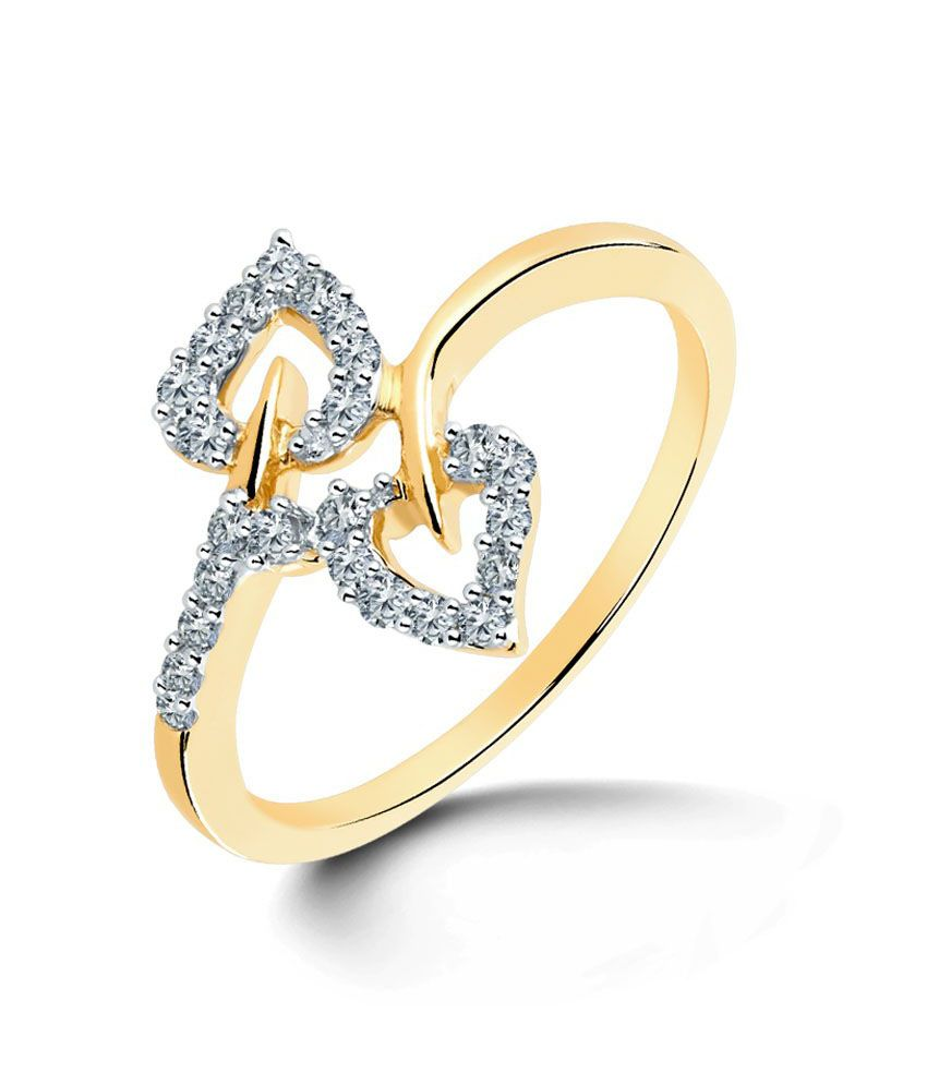Dos Leaf Ring Hallmark 18Kt Gold with Certified SI/IJ Diamonds