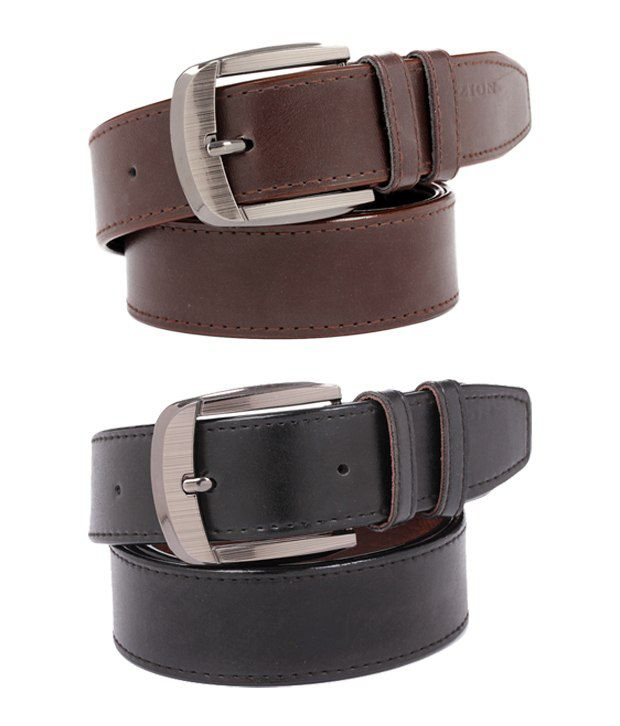 ZION Men's Exclusive Black & Brown Belt combo