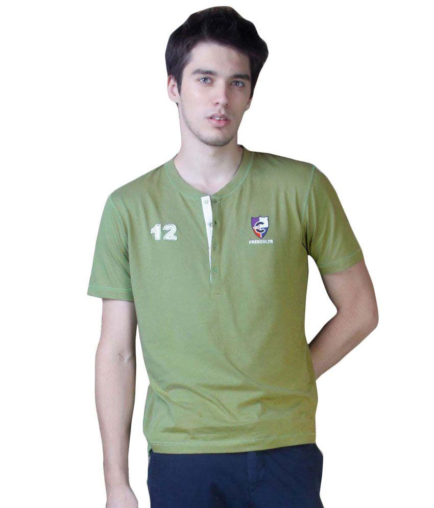 Freecultr Green Cotton  T-Shirt