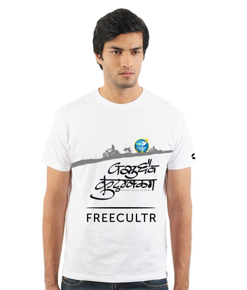 Freecultr White Cotton  T-Shirt