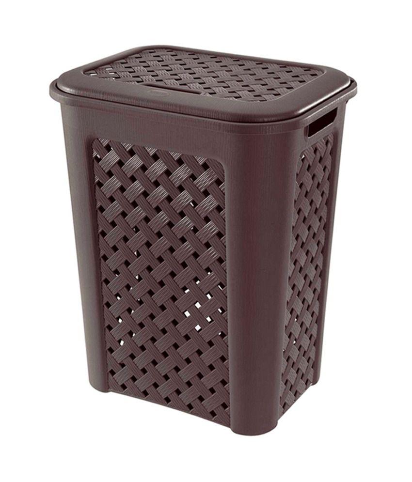 Tontarelli Europe Brown Plastic Hamper Basket With Lid