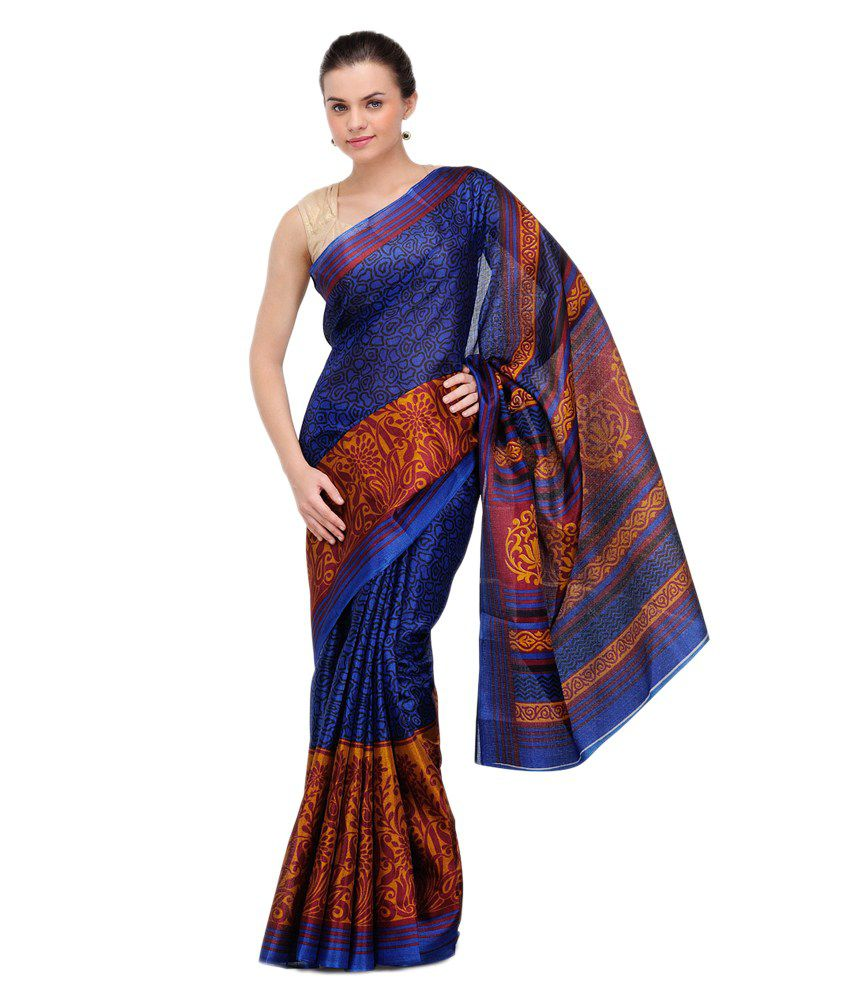 Gamini Navy Blue Printed Tussar Silk Saree