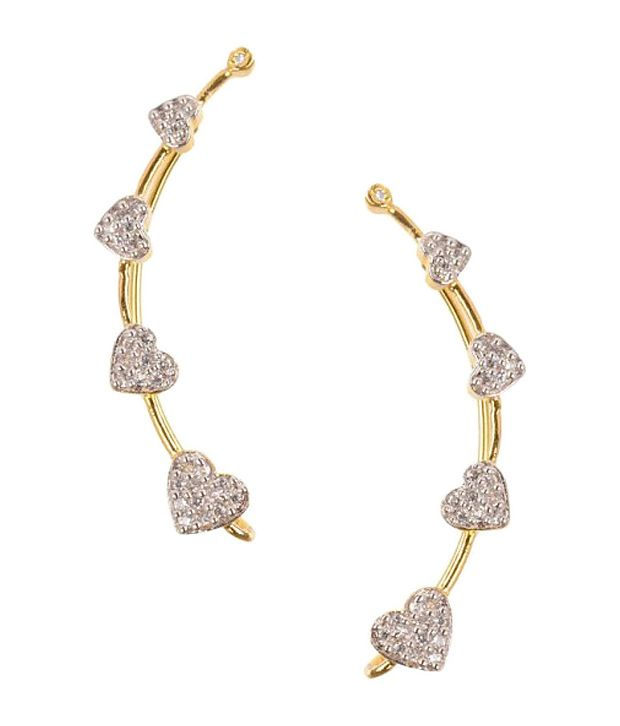 Hearts CZ Earring cuffs By Prish's