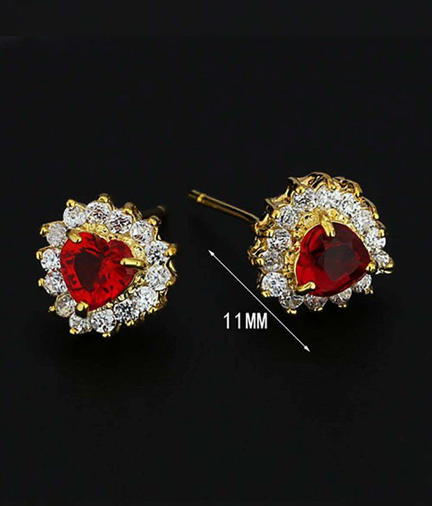 Jewelora Exquisite Cubic Zirconia Red Lady Earrings