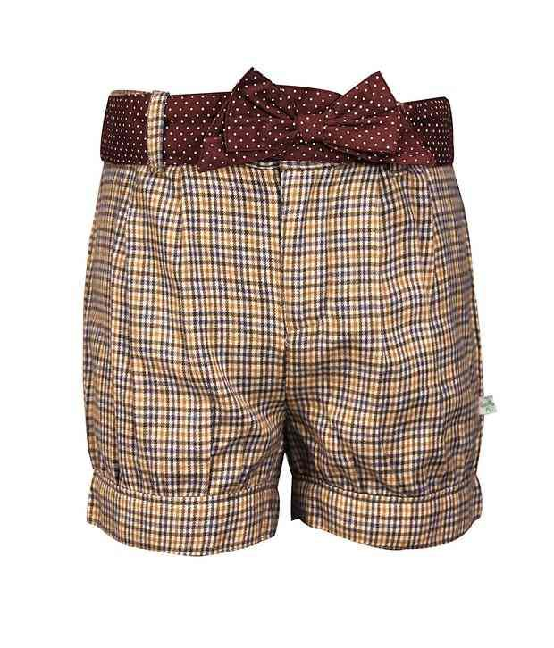 ShopperTree Brown Checkered Cotton Short