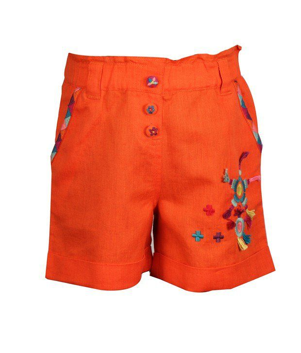 ShopperTree Orange Linen Shorts With Embroidery