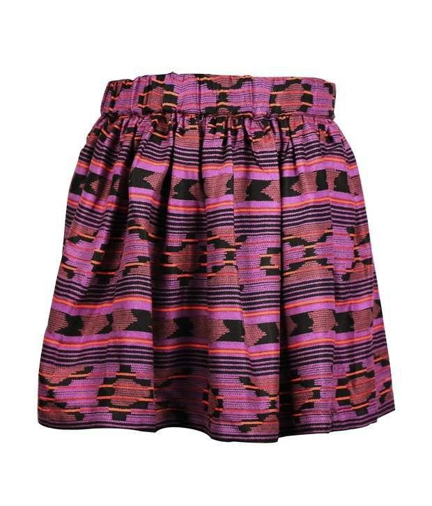 ShopperTree Purple Multi Printed Skirt