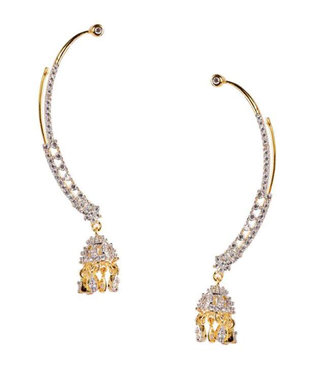 43cd0aa7a8263 Sleek Jhumka Style CZ Earring cuffs By Chaahat - Buy Sleek Jhumka ...