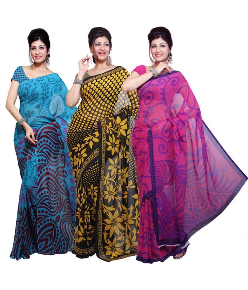 Aisha Multicolor Printed Faux Georgette Saree - Combo Of 3
