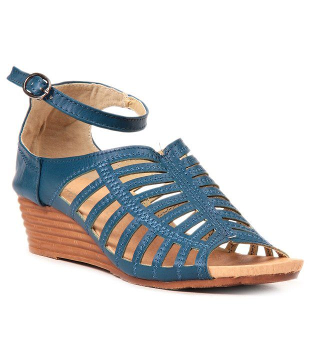Lovely Chick Blue Wedges Sandals
