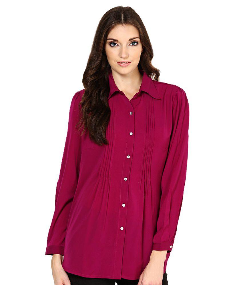 MEIRA Purple Solids Poly Crepe Regular Collar Shirts
