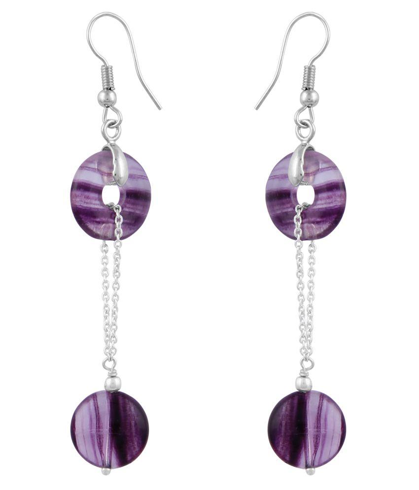 Pearlz Ocean Mayfair 2.5 Inch Multi Fluorite Beads Dangle Earrings