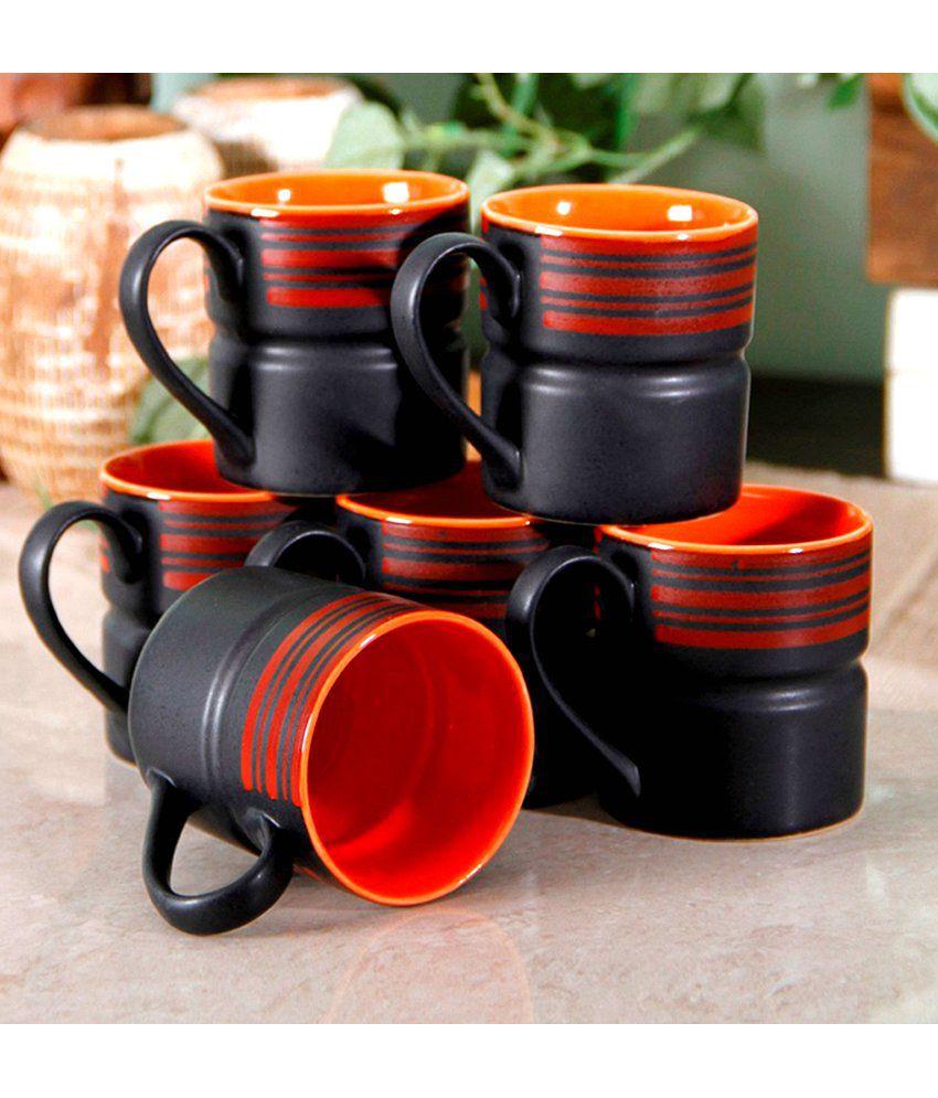 Unravel India Matt Work Black Stoneware Coffee Mug Set 6 Pcs