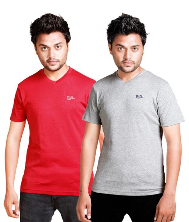Alan Jones V-Neck Red Grey Cotton T-Shirt Pack of 2
