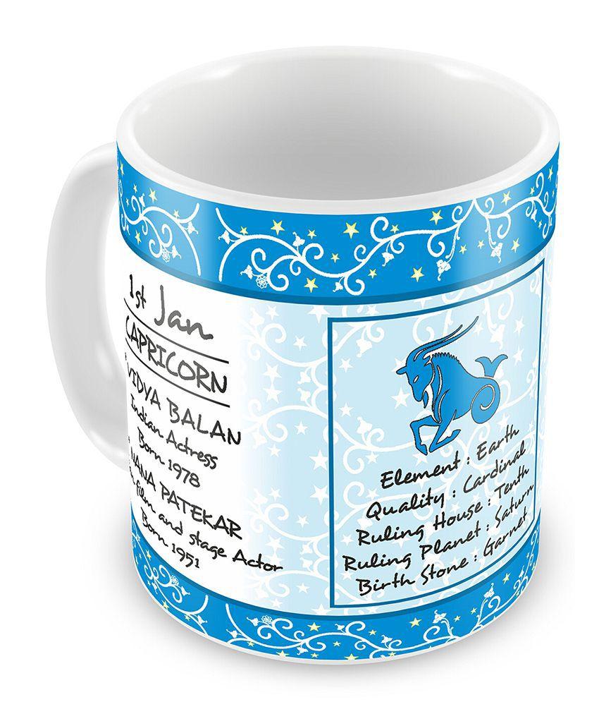 Everyday Gifts Happy Birthday 1st Jan Zodiac Mug
