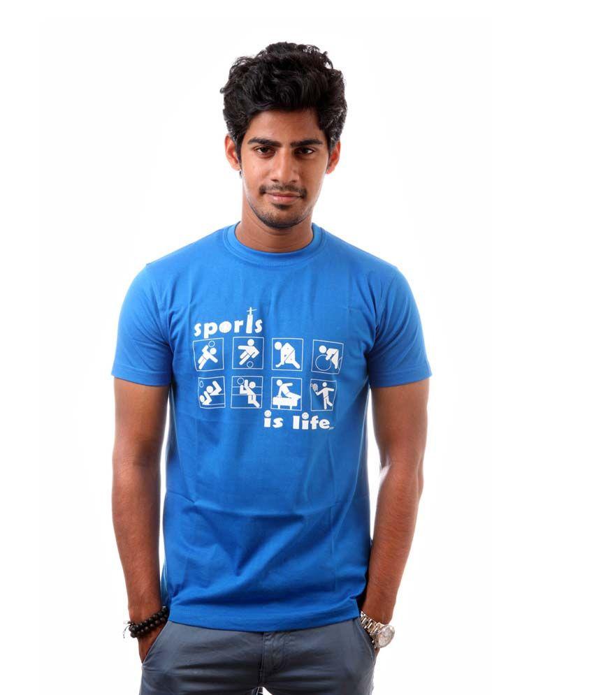 Offbeat Blue Cotton T-Shirt