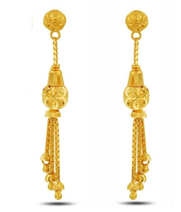 Traditional Gold Drop Earrings By P.N.Gadgil