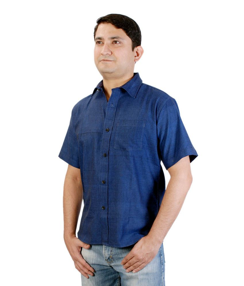 Viniyog Hand Woven Cotton Red Plain Weave Shirt
