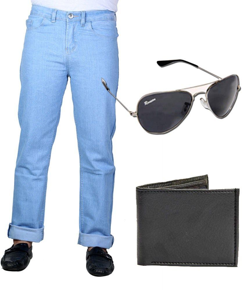 Sam & Jazz Blue Men's Jeans with Dynamic Wallet & Dashing Sunglass
