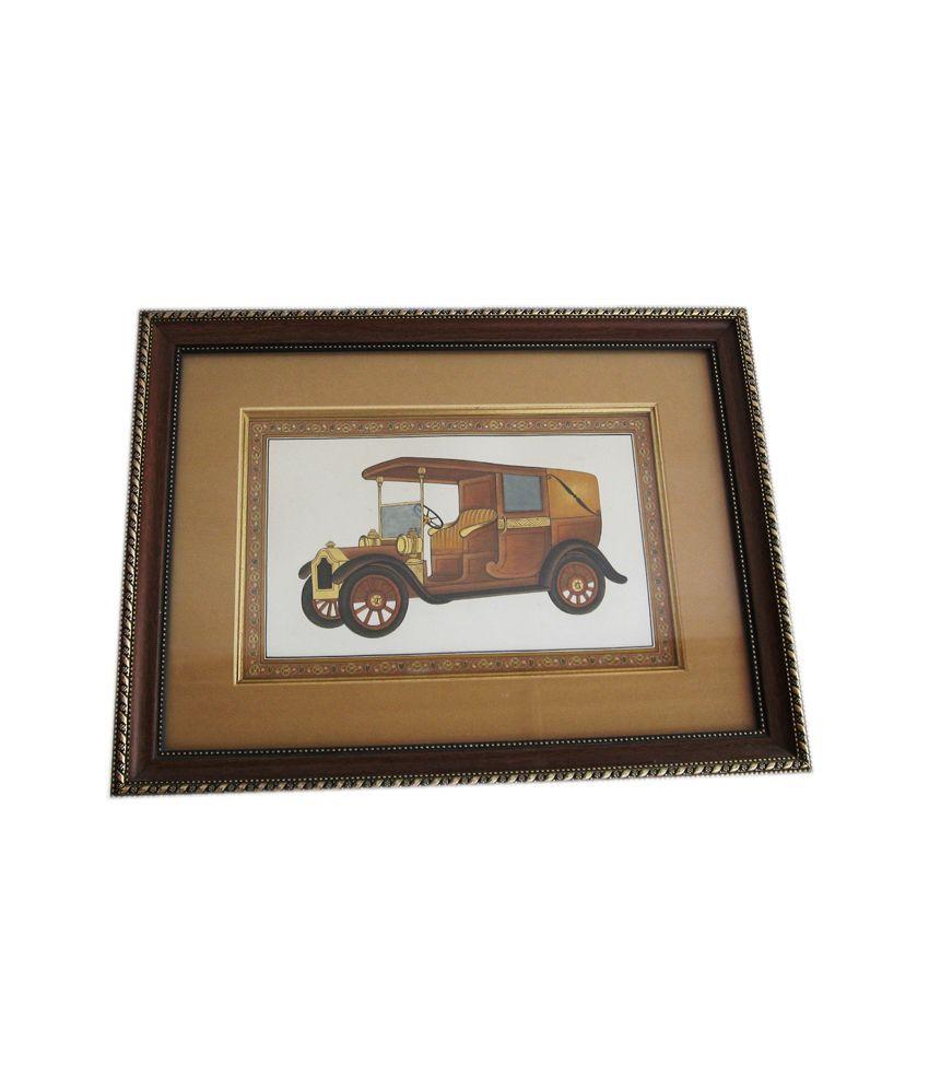 Icb Vintage Car Painting On Paper Sheet