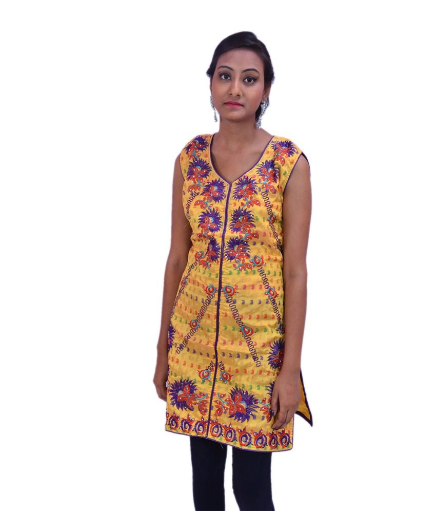 Krazzy Collection Yellow Embroided Chanderi Kurti With Sleeves