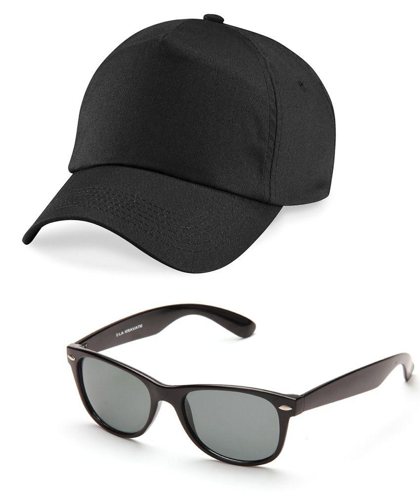 625825db729 LA Kravate Black Cotton Baseball Cap Men With Free Sunglasses - Buy Online    Rs.