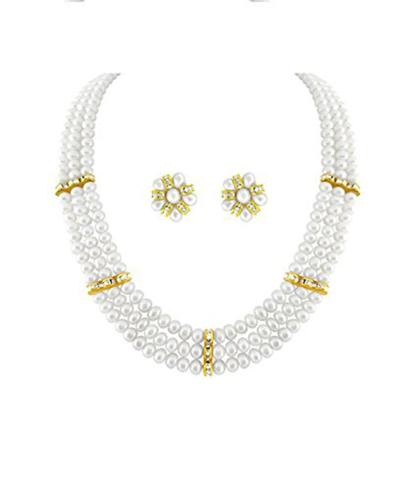 --- Shifra White --- Real FreshWater Hyderabadi Pearls Necklace with Matching flower earrings, AAA Quality