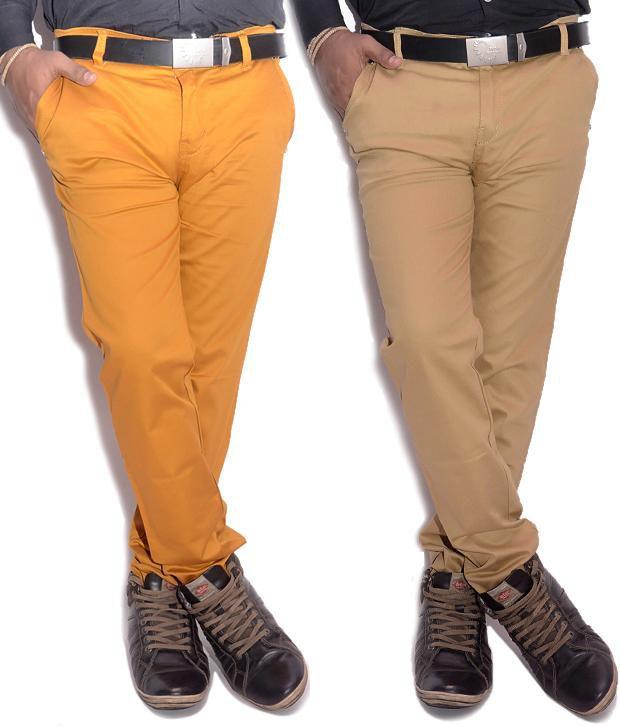 VAM Jeans Cream & Yellow Cotton Chinos