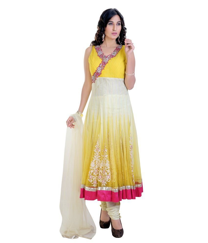 Mint Yellow Net Anarkarli