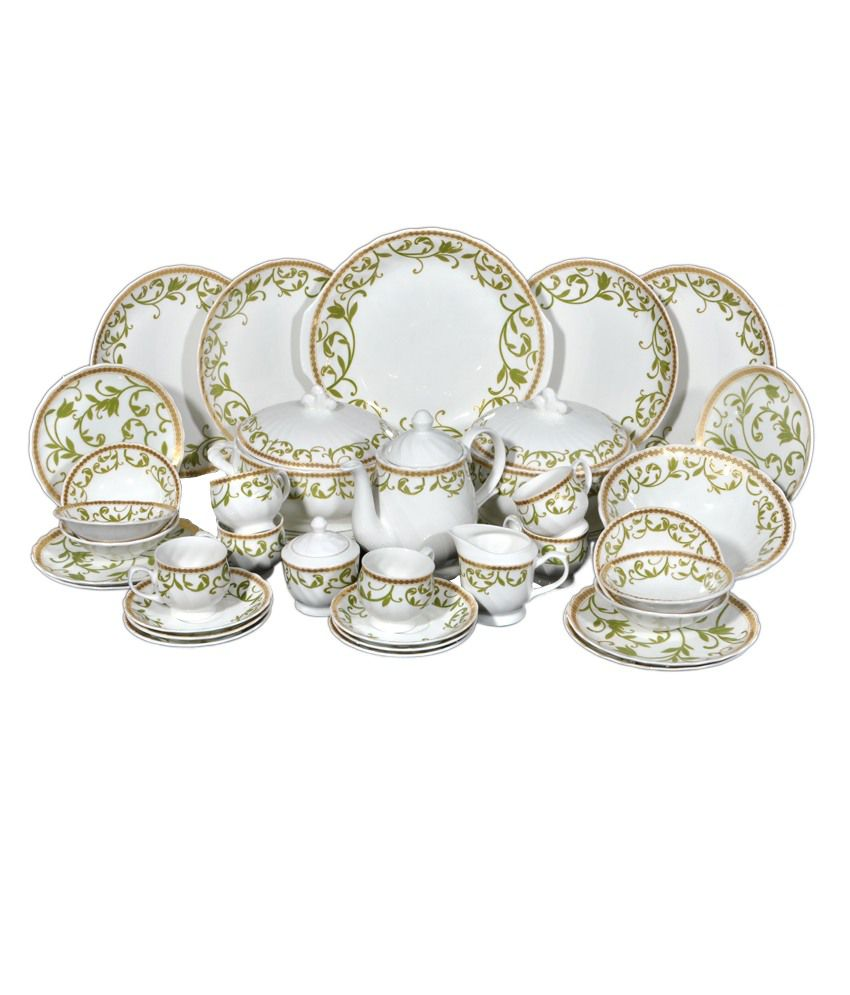 bharat white bone china dinner set 37 piece buy online at best price in india snapdeal. Black Bedroom Furniture Sets. Home Design Ideas