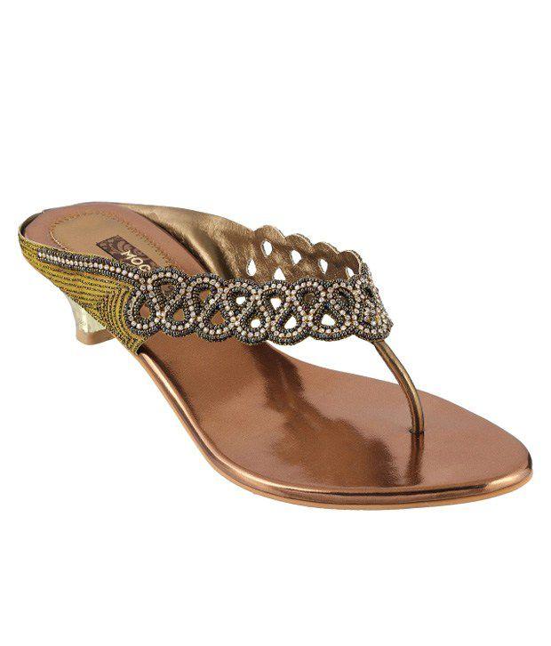 Mochi Gold Heeled Slip-On