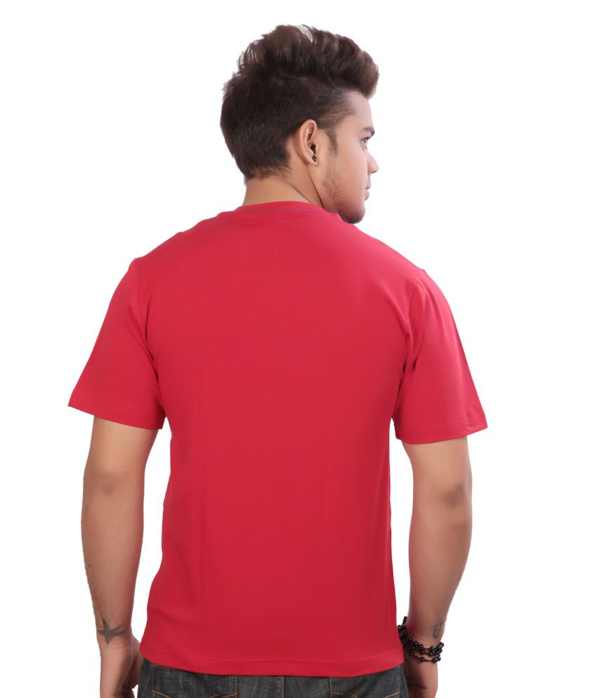 Emerge Plain Red Lycra Cotton V-neck T- Shirt