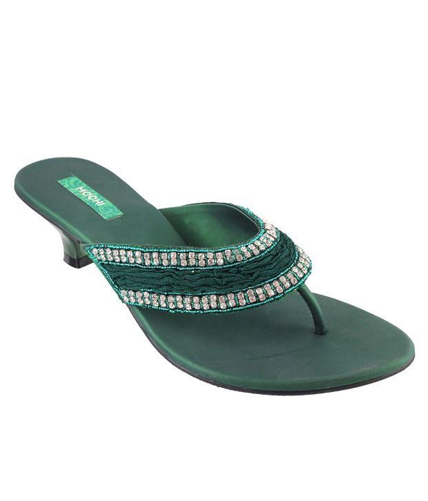 Mochi Green Heeled Slip-On