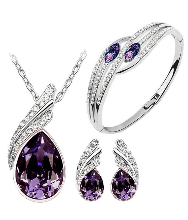 Purple Austrian Crystal Necklace Set Combo with Crystal earrings and elegant crystal bracelet