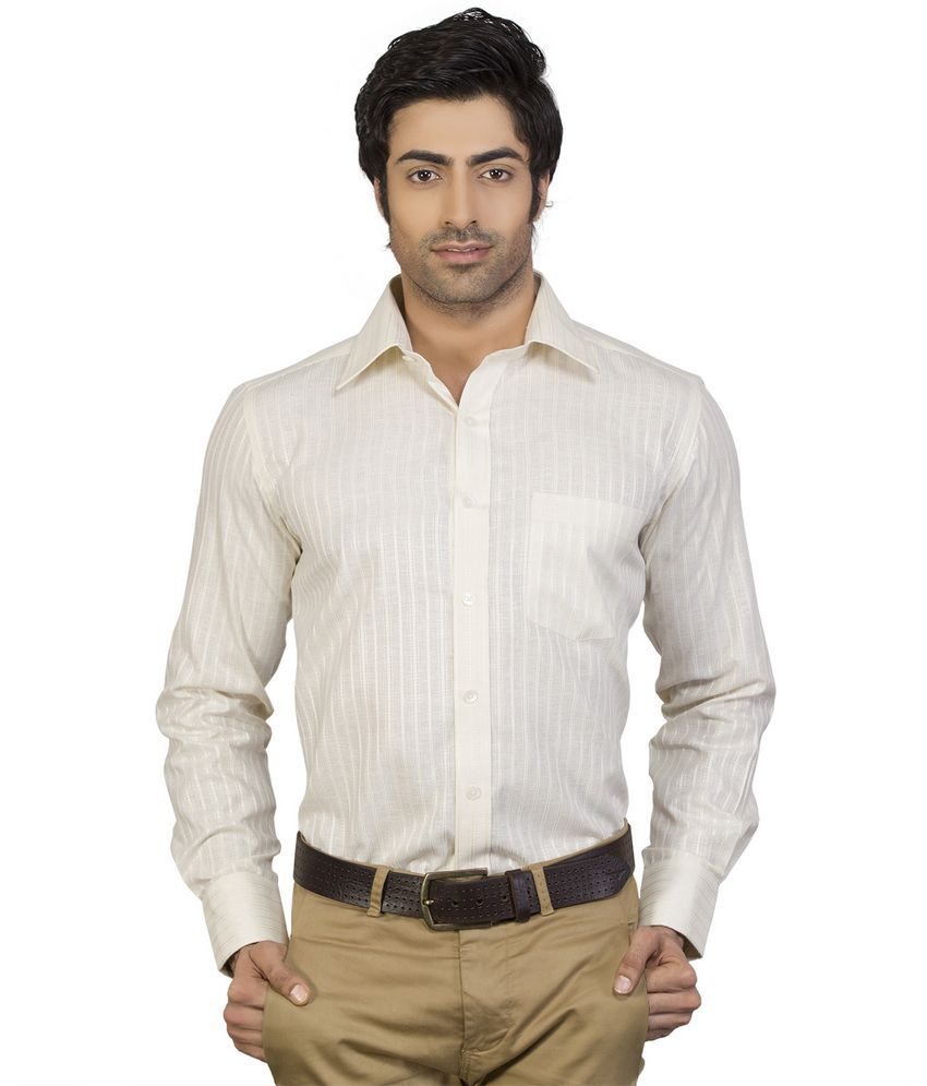Edenelliot Cream Color Linen Look Cotton Formal Shirt - Buy Edenelliot Cream Color Linen Look ...