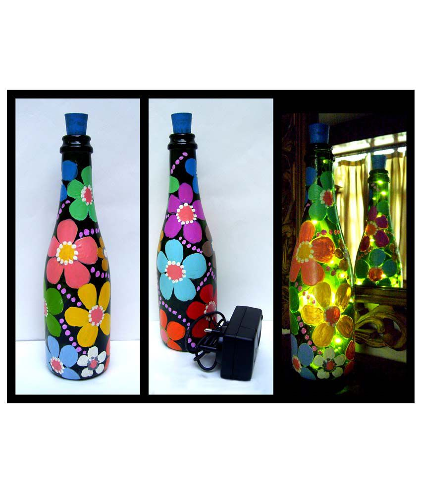 Bottles not empty flowers small multicolour glass hand for Painting flowers on wine bottles