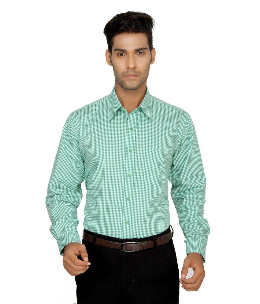 Devaa Green Wrinkle Free Shirt
