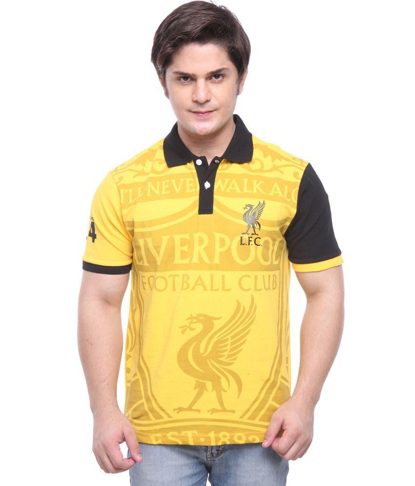 LiverPool Mens Casual T-Shirt Yellow