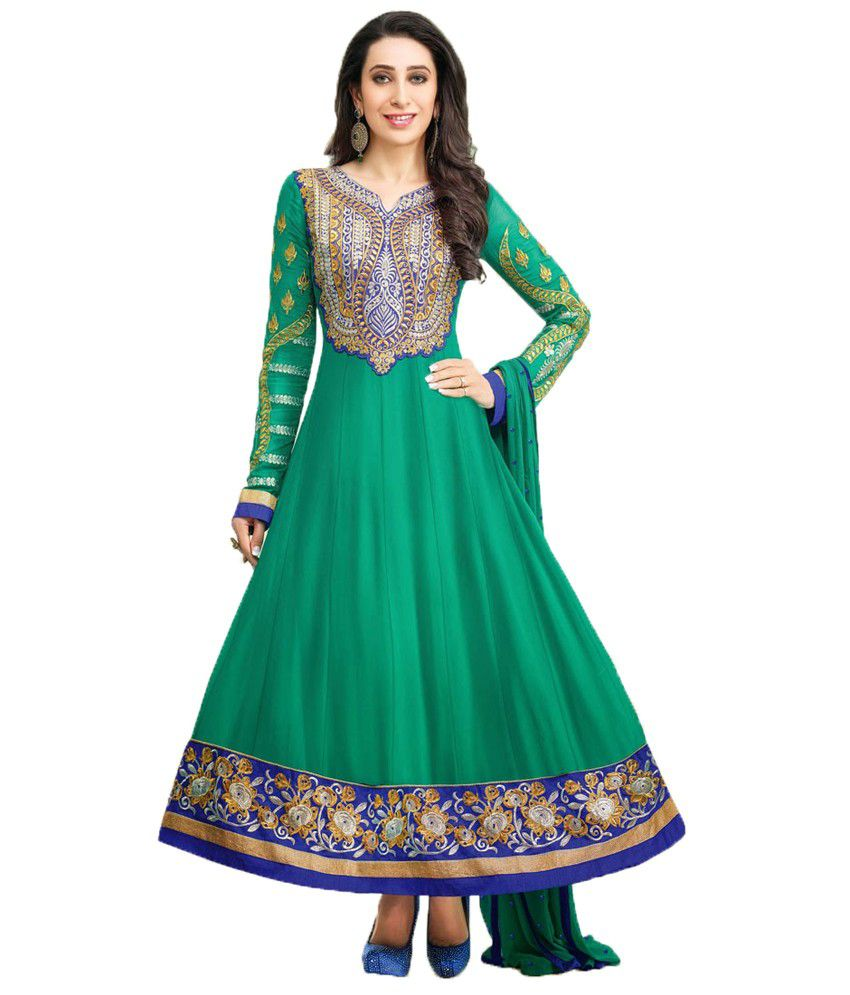 Party Wear Dresses Green Faux Georgette Unstitched Dress Material ...