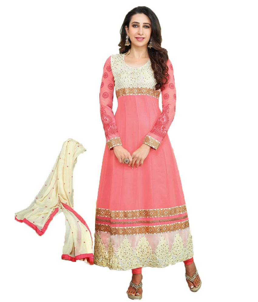 Party Wear Dresses Pink Faux Georgette Unstitched Dress Material ...