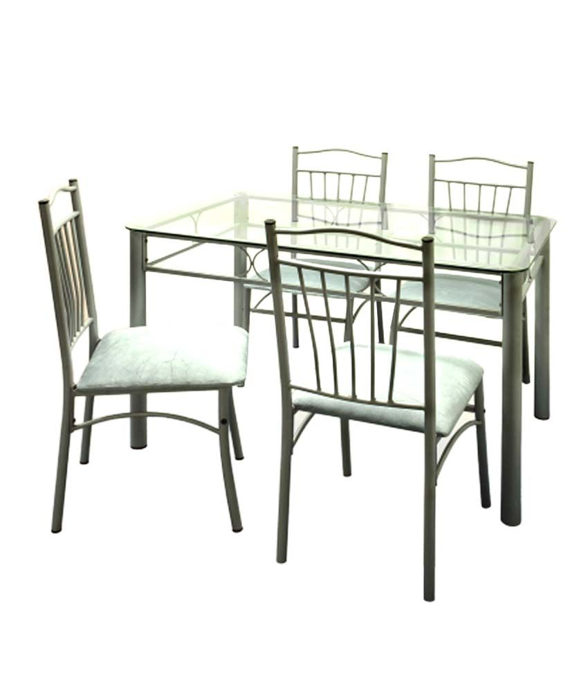 FurnitureKraft FK Catalina 4 Seater Dining Set With Glass Top Table