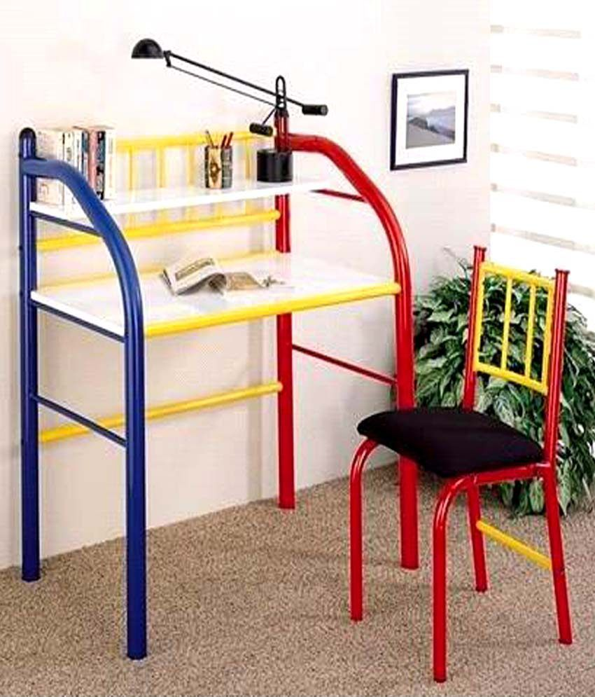 Study Table Chair Set : FurnitureKraft Study Table & Chair Set in Red and Yellow: Buy Online ...