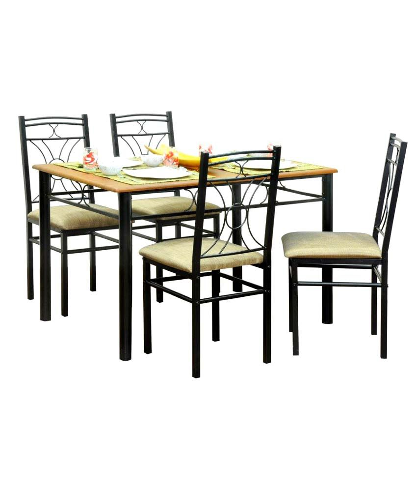Furniturekraft 4 Seater Dining Set Wooden Top Table