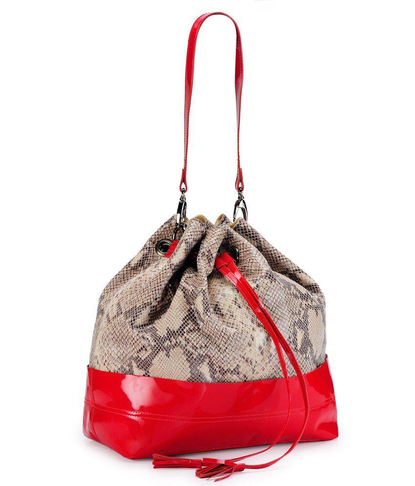 Teakwood Red Leather Shoulder Bag