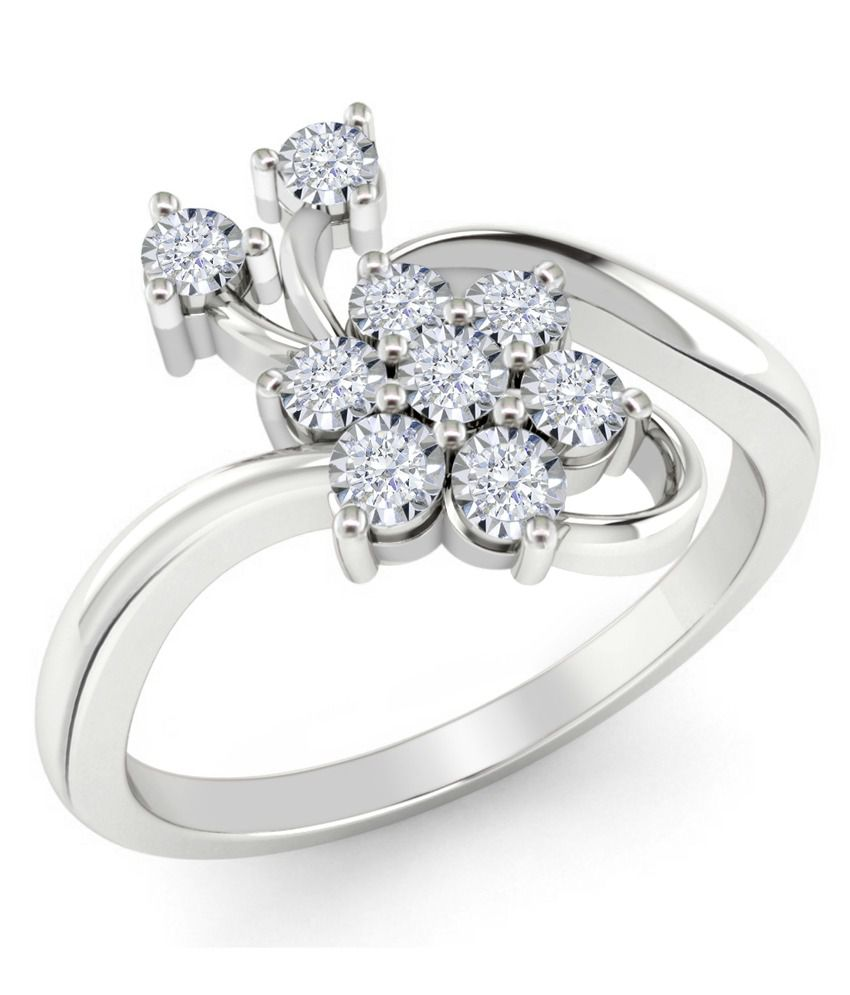 Vivre Jewels 0.05ct Natural Round Diamond Cocktail Fancy Ring In 18k White Gold
