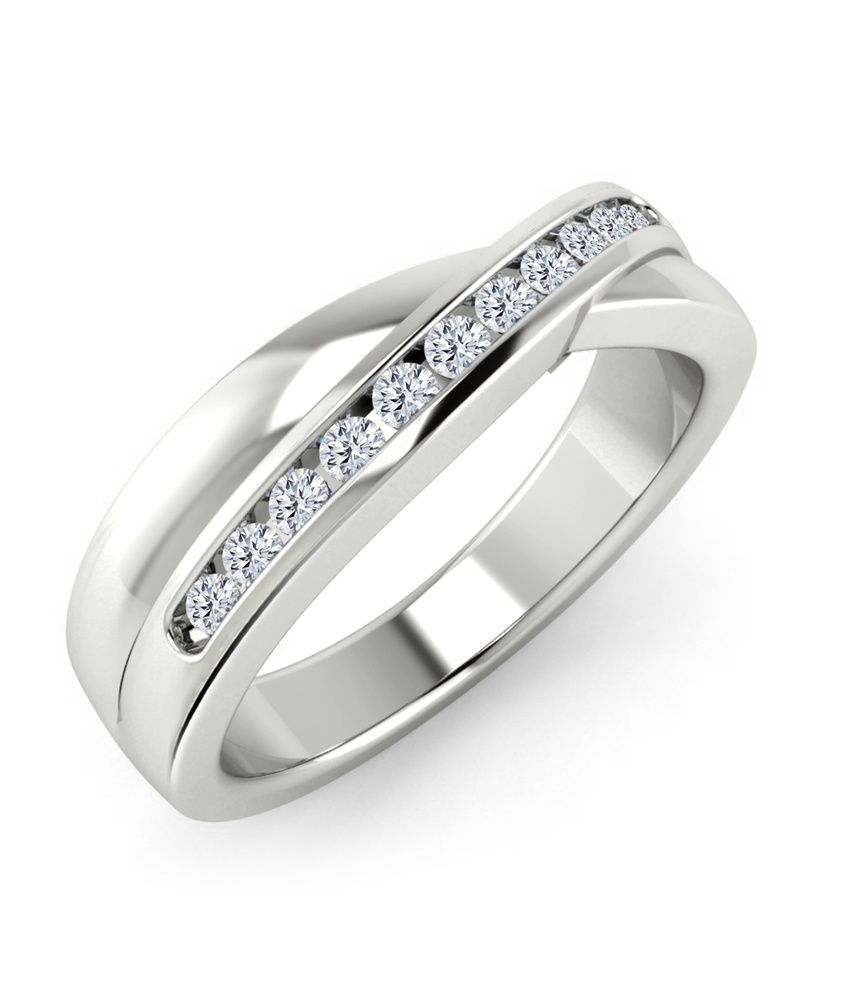 Vivre Jewels Round Natural Diamond Solid 18k White Gold Cross Wedding Band Ring 0.16ct