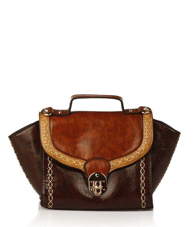Ella Bags Cross Stitch Sling Bag Brown